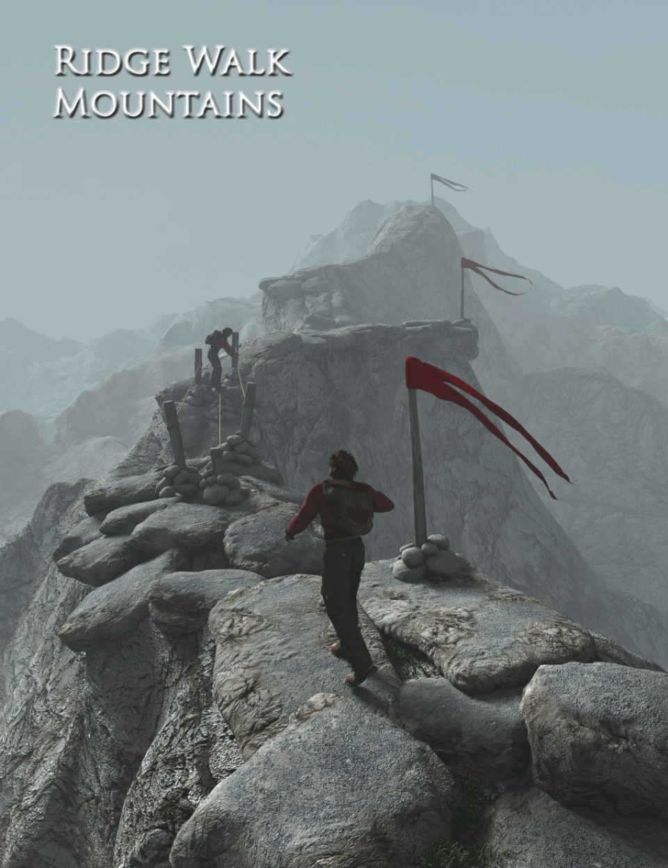 daz ridge walk mountains showing flags