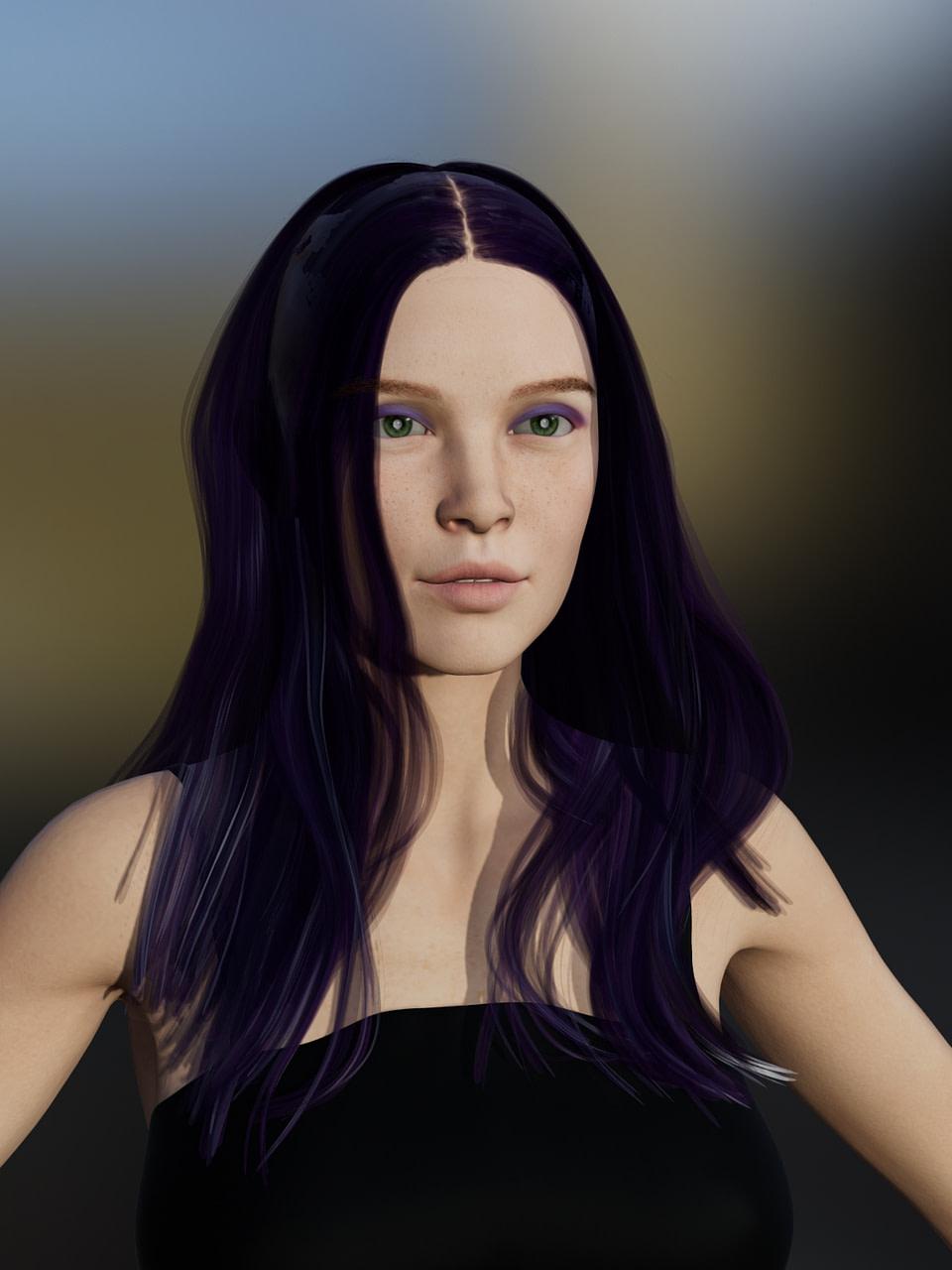 daz 3d female genesis 8 model filament render hair texture