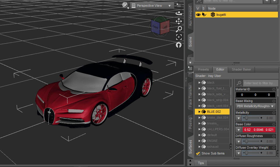 daz studio car material editor