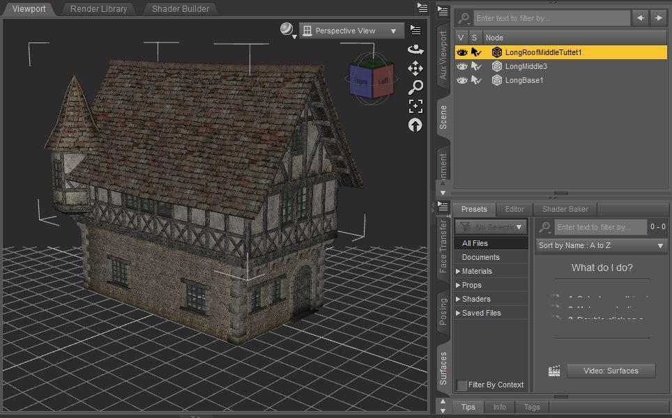 daz viewport showing environment  medieval village 3d model