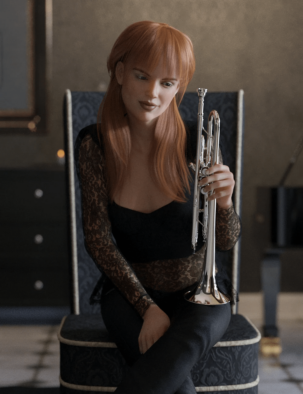 daz hd trumpet and poses for genesis 8