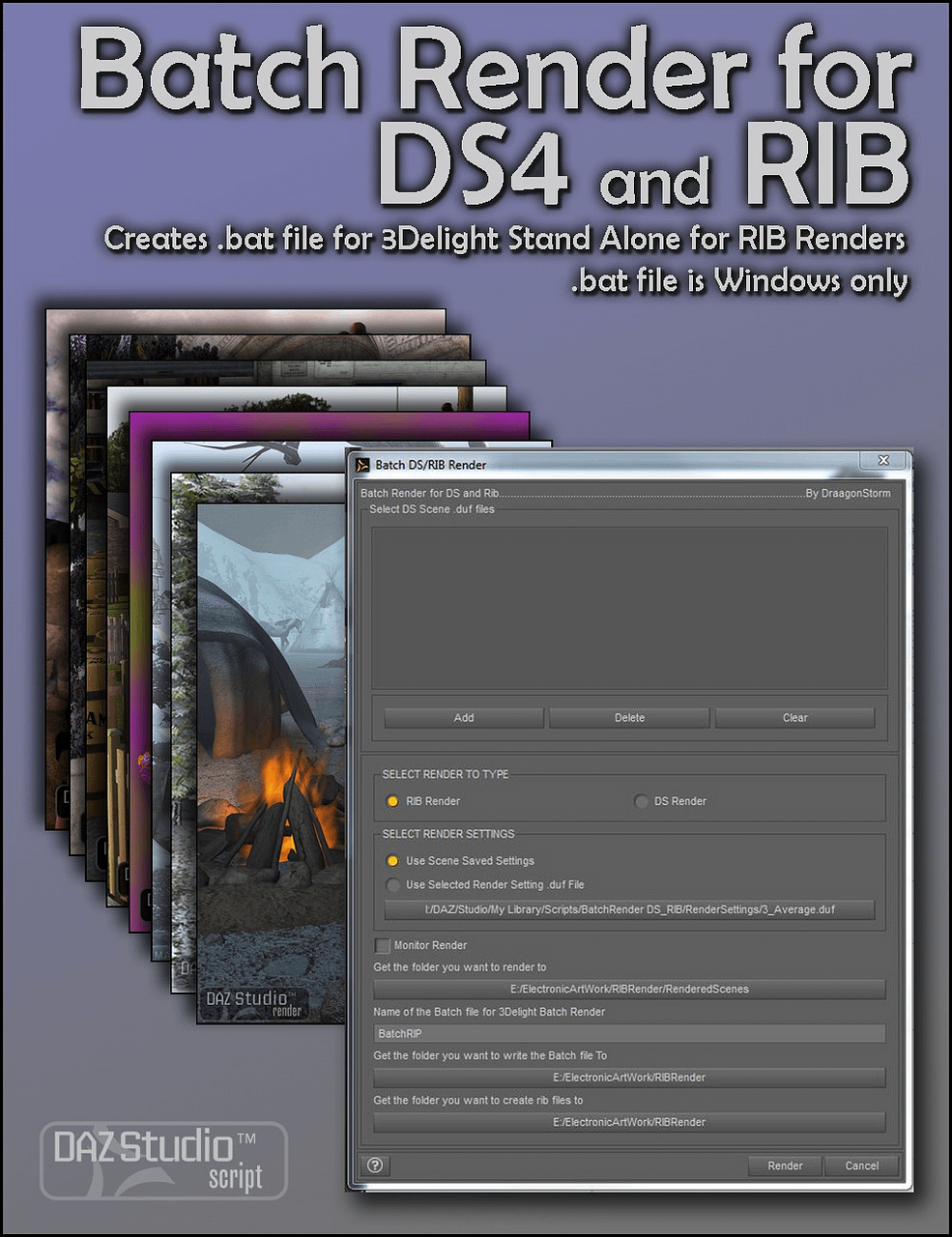 daz studio batch render for daz studio 4 and rib