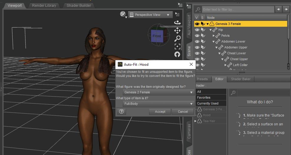 daz 3d apply clothes autofit female model genesis 3