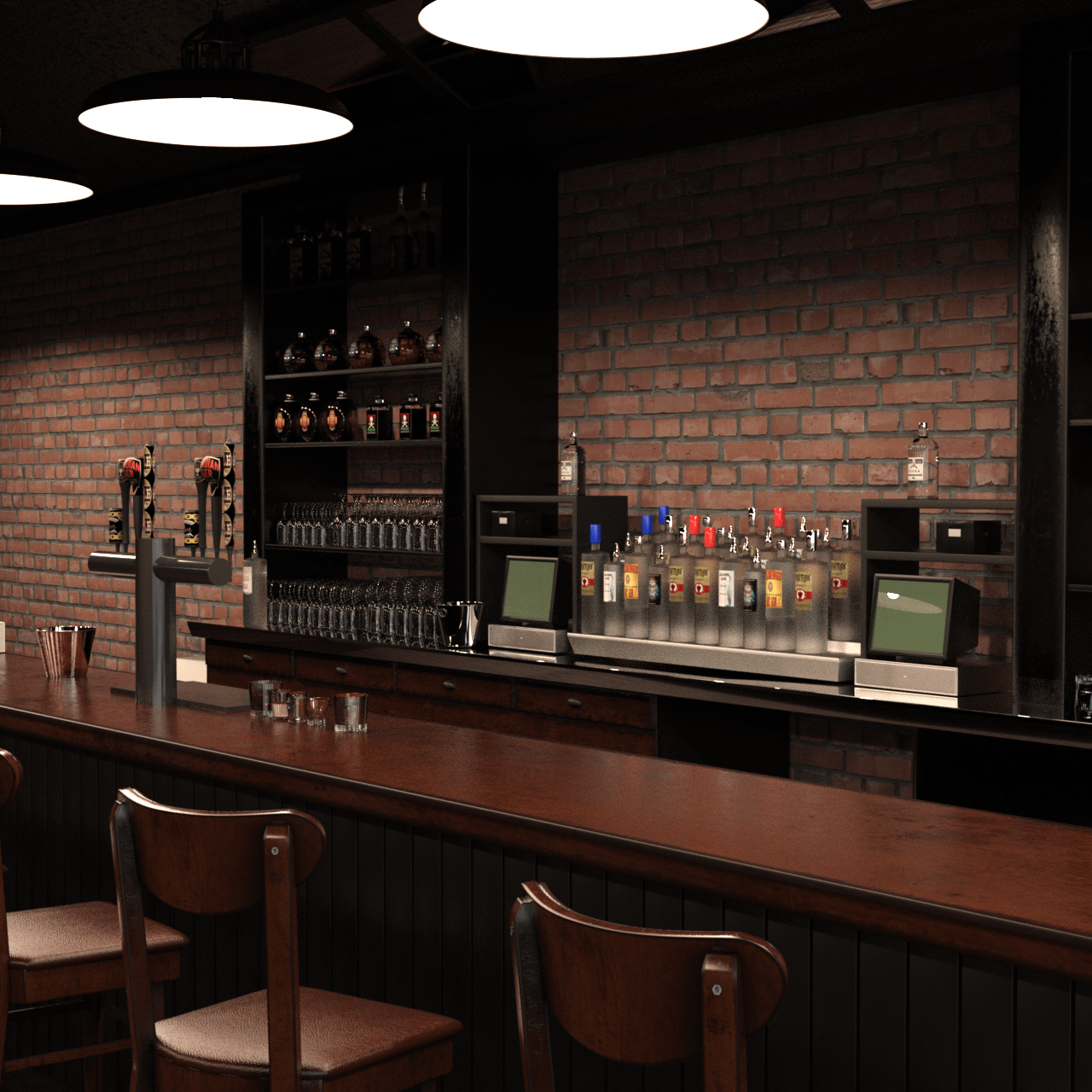 bar 3d model with poses