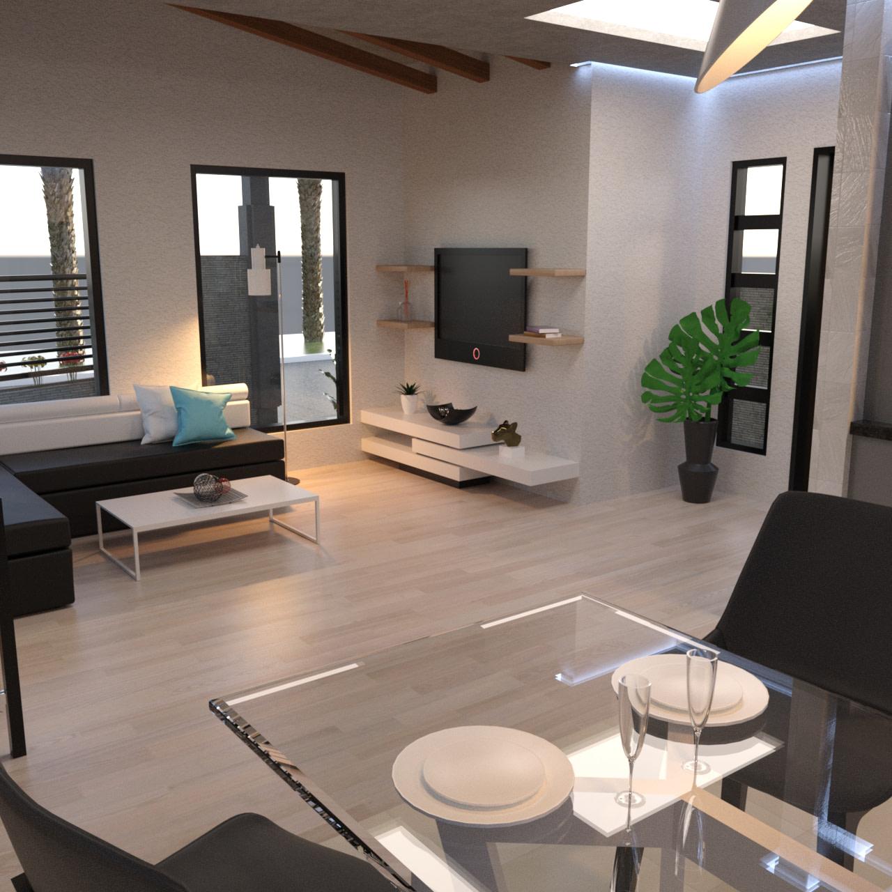Interior of the corner lot house 3d model