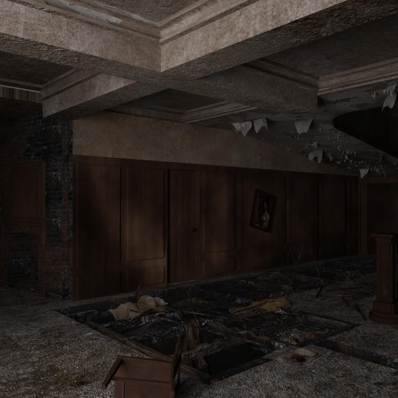 horror house interior with broken floor