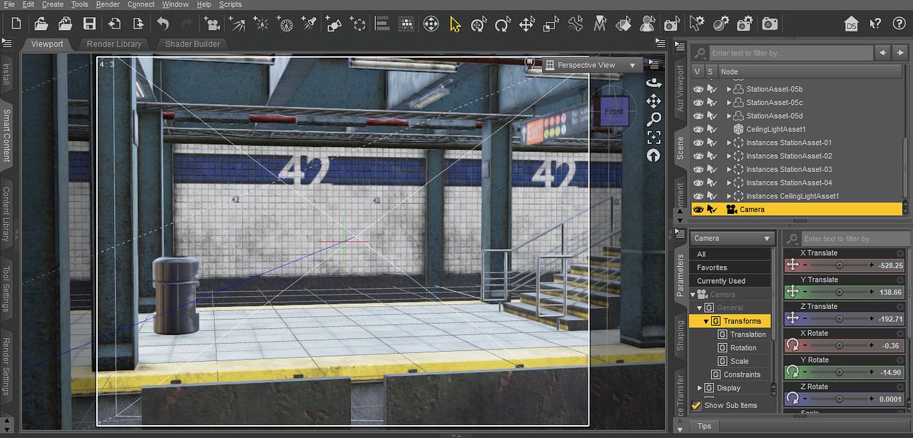 daz studio subway station camera filament