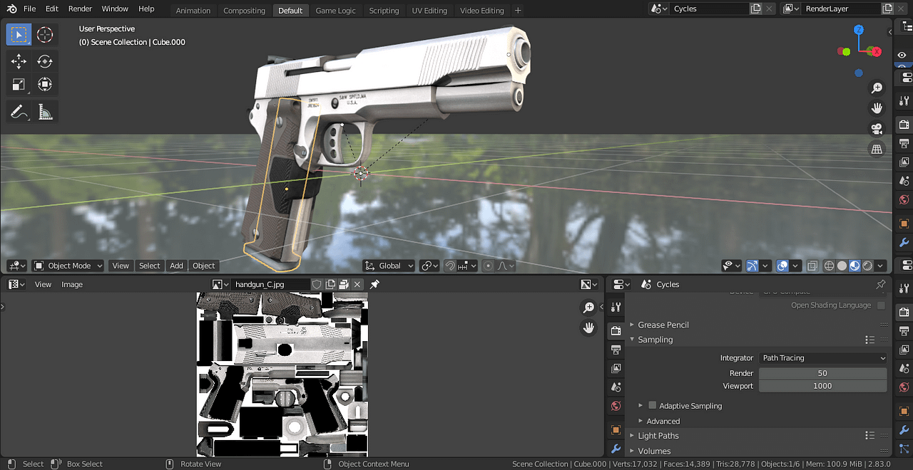 blender 3d model with textures opened