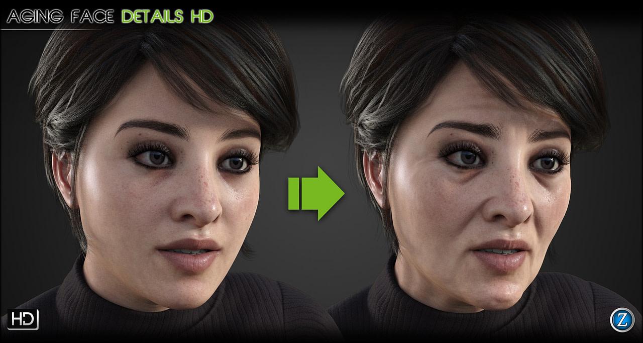 female face aging morph for daz studio