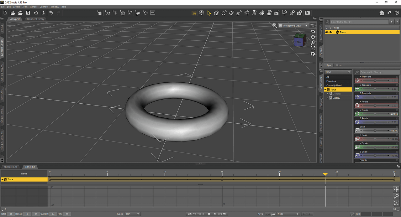 Animating Torus object in daz studio