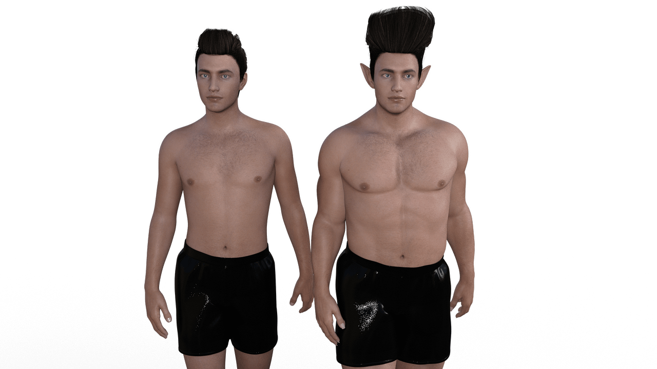 two daz male figures with different morphs
