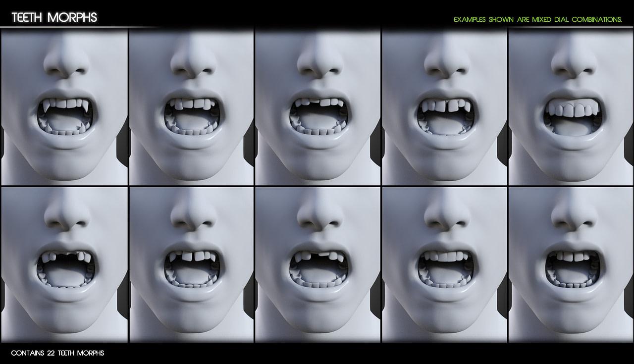 Additional teeth morph for daz figures