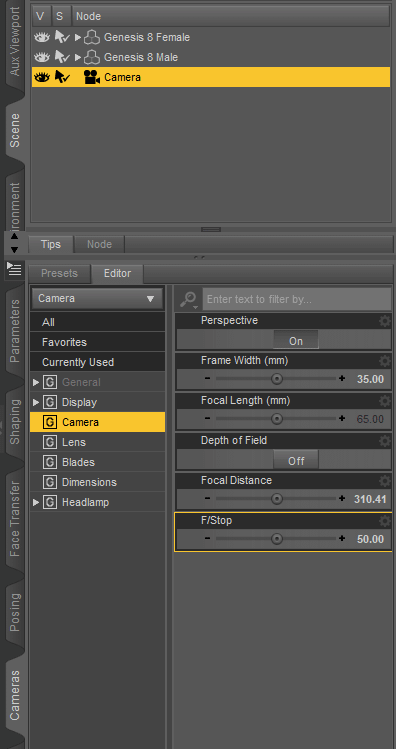 daz3d camera depth of field settings