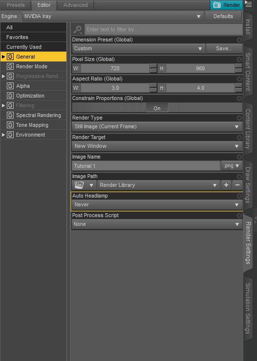 dazstudio general render settings