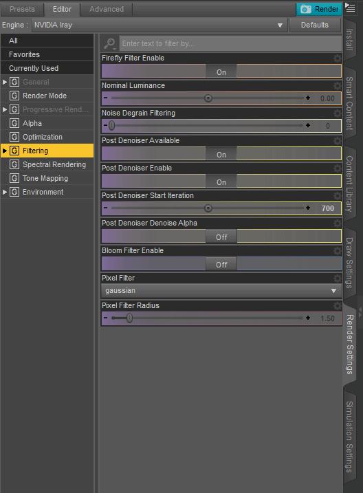 daz3d filtering denoiser settings