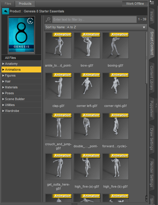 daz studio animations inside the smart content pange
