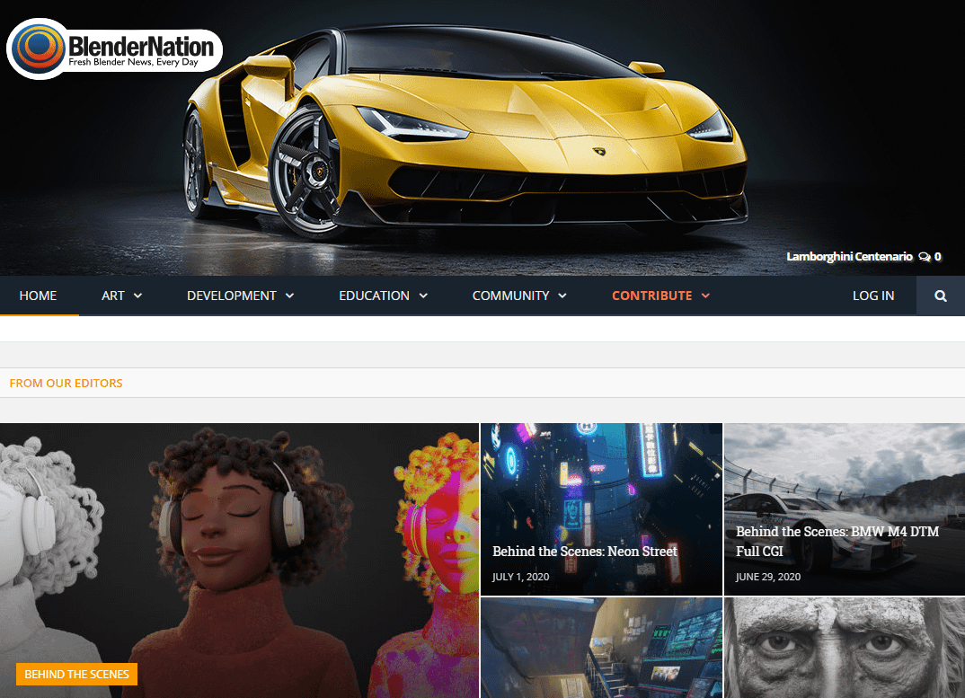 sito web di Blender Nation